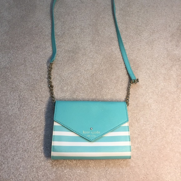 kate spade Handbags - Blue and white striped Kate Spade bag